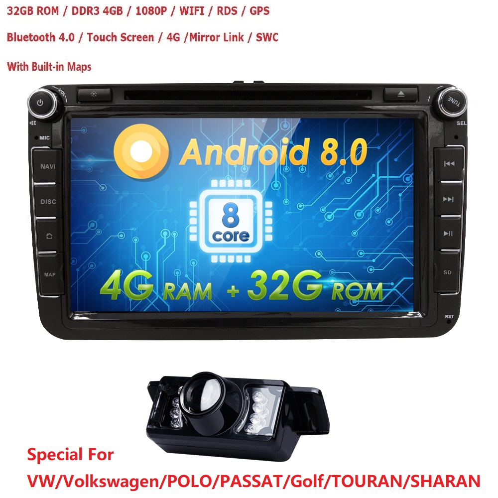2DIN android 8.0 OctaCore 4G + 32G voiture dvd audio multimédia pour Volkswagen VW Golf beetle passat CC EOS jetta polo Skoda/Siège/Leon