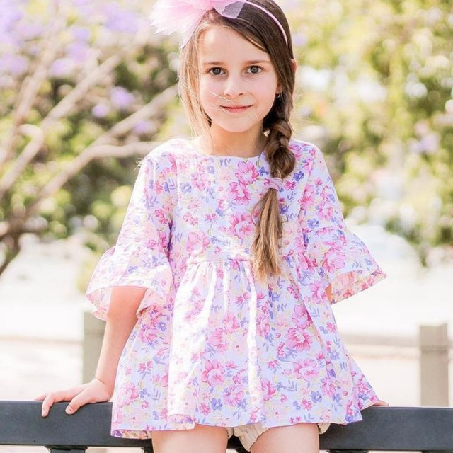 f4332ca6b42c5 US $4.73  WEIXINBUY Children's Clothing Summer Pastoral Girls Baby Floral  Print Dress Horn Half sleeve Cotton Cute Dress 2018-in Dresses from Mother  & ...