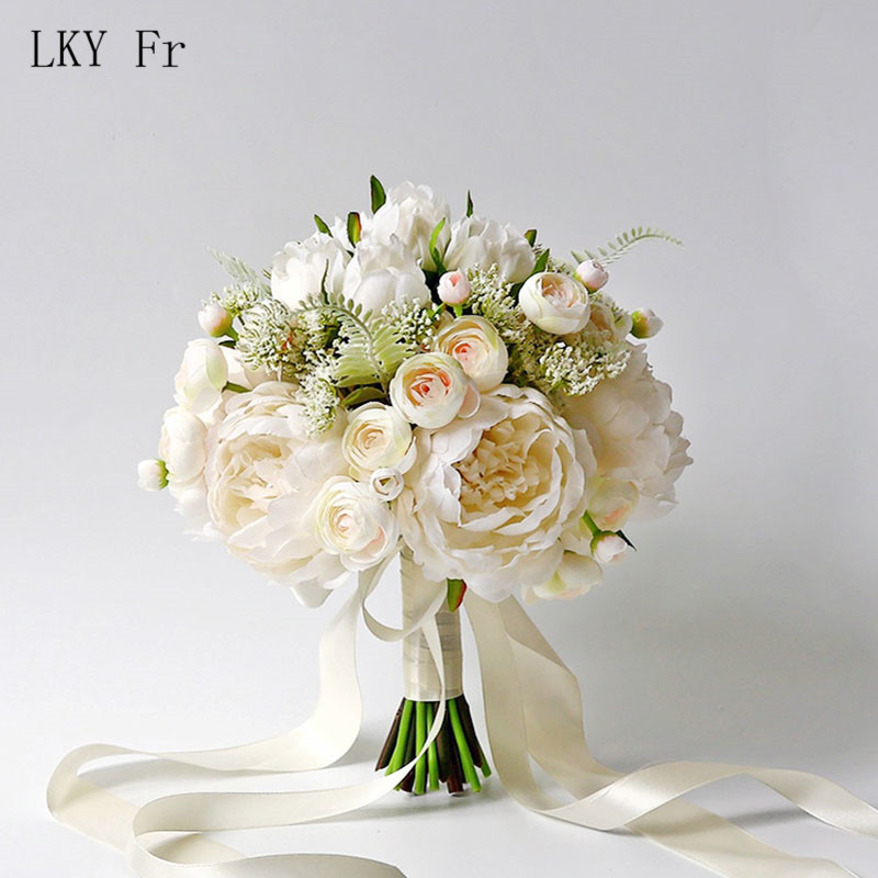 LKY Fr Wedding Bouquet Silk Roses White Wedding Flowers Bridal Bouquet Artificial Flowers A Marriage Wedding Bridesmaids Bouquet