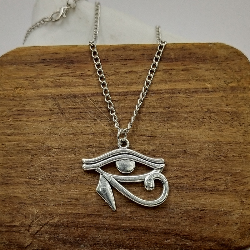 """K974 Filigree Silver Color Pearl Cage Egypt Eye of Horus Amulet Necklace 18/"""""""