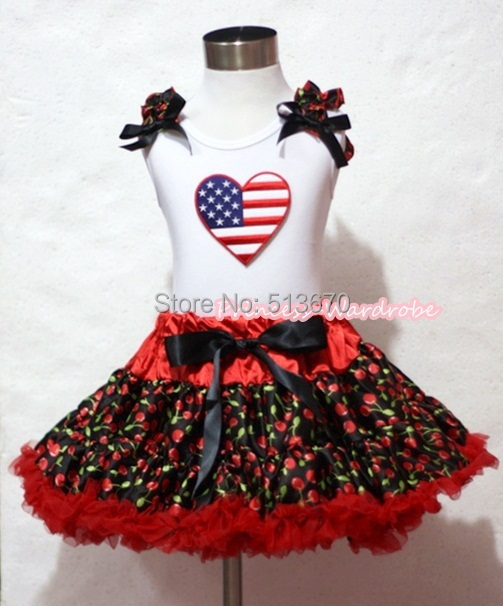 VALENTINE Red Cherry Pettiskirt Skirt White Pettitop Top AMERICAN HEART Ruffles Set 1-8Y MAPSA0235 white valentine браслет