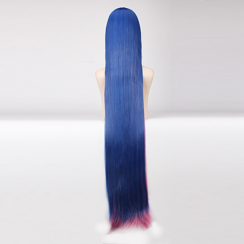 Hot Sale Panty & Stocking with Garterbelt 120cm Long Straight Blue Pink Cosplay Wig for Women Costume Party Cartoon Universal