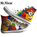 High Top Anime Figure Minion Beedo Breathable Flat Shoe Adults Couples Hand Painted Canvas Shoes Colorful Shoes for Boys Girls