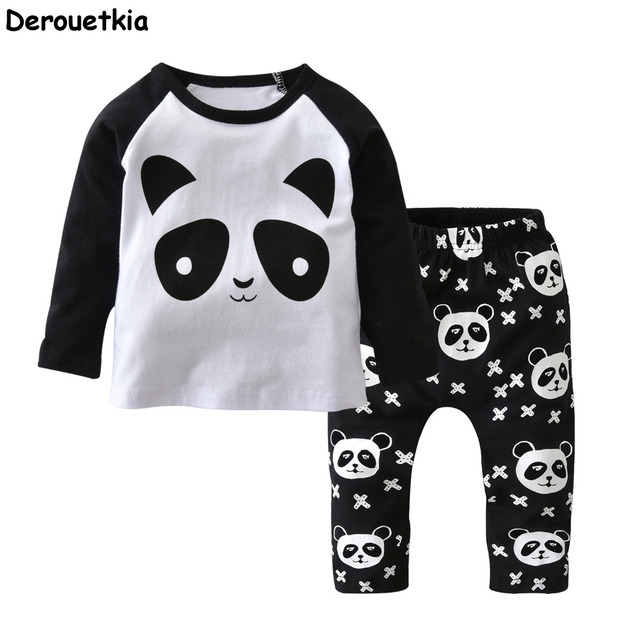f2a4ee57c New 2018 autumn newborn baby boy clothes cotton panda pattern long sleeve t- shirt + pants baby boy clothing set infant 2pcs suit