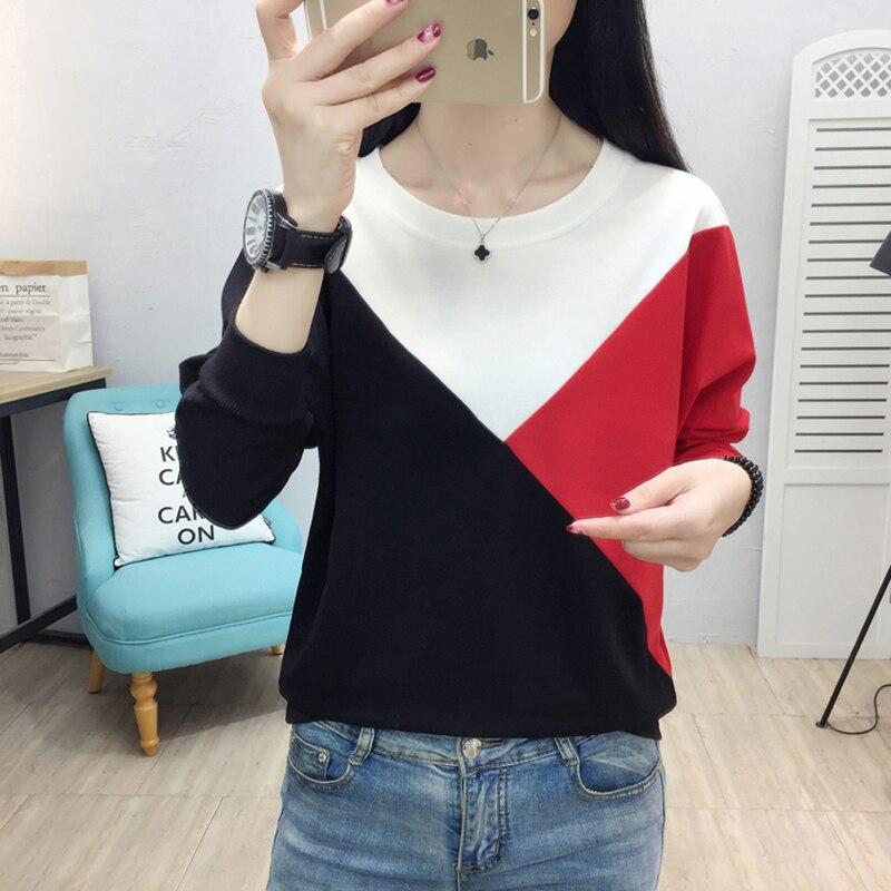 AOSSVIAO 2019 Patchwork Cotton Tshirt Women T-shirt Long Sleeve T Shirt Women Tops Casual Tee Shirt Femme Camisetas Verano Mujer