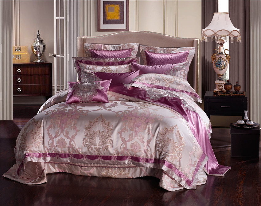 Purple Silver Silk Cotton Satin Jacquard Luxury Chinese Bedding Set Queen King Size Bedding Set Bed Sheet/Spread Set Duvet Cover