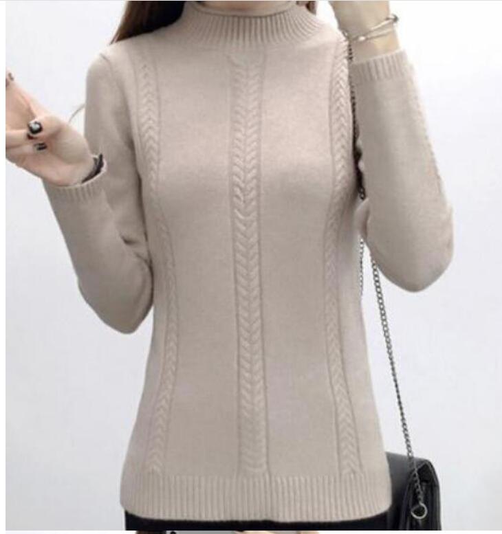 Winter Dress Sweater Turtleneck Autumn Unlined Pure-Color New Render And of Cultivate