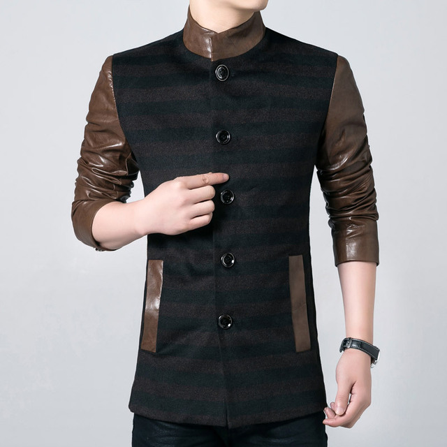 Casual Jacket For Men Autumn Single Breasted PU Leather Sleeve Stand Collar Striped Casual Coat Slim Fit Plus Size Clothing 3XL