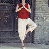 Women Harem Pants 2017 Summer Elastic Waist Leisure Pants Femme Calf Length Beige White Causal Trousers