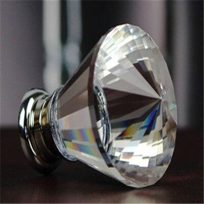 New 5pcs/lot 40mm Zinc Alloy Clear Crystal Sparkle Glass Kitchen Cabinet Knobs Handles Dresser Cupboard Door Knob Pulls