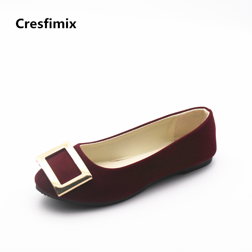 Cresfimix women fashion spring & summer slip on flat shoes zapatos de mujer lady casual comfortable red wine flats cool shoes cresfimix women fashion