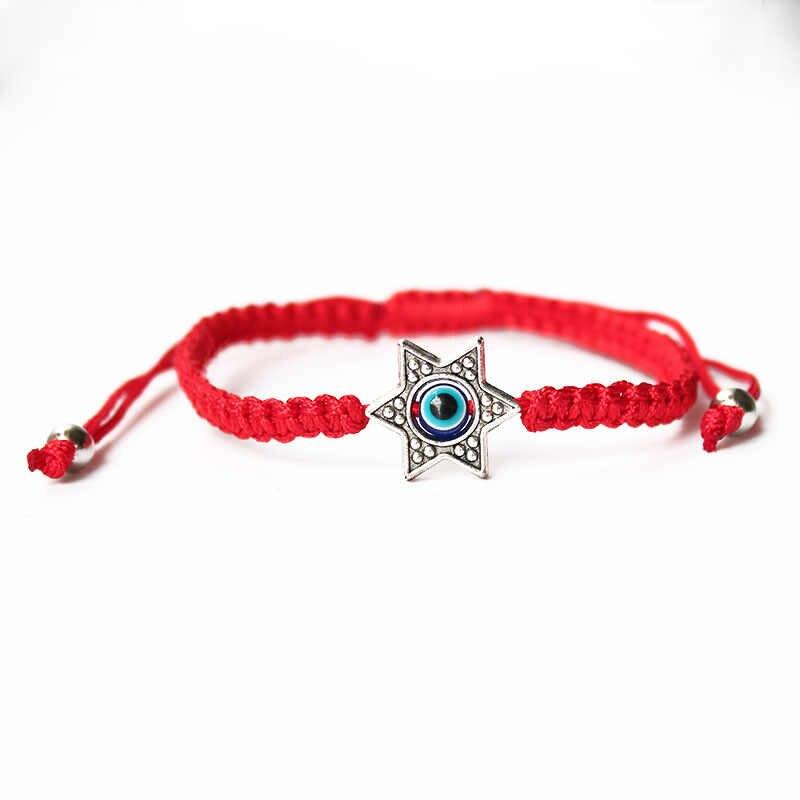 แฟชั่นสีแดงสร้อยข้อมือเชือกถัก Hamsa Evil Eye สร้อยข้อมือผู้หญิงหญิง Fish Heart Star ของ David Charm มือเครื่องประดับ