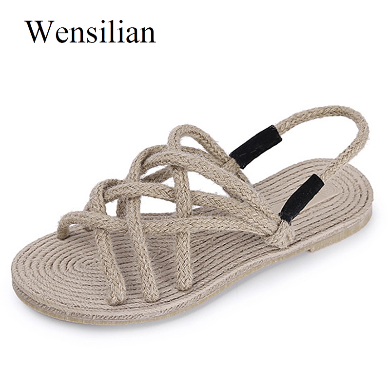 Summer Women Flat Sandals Ladies Hand Woven Beach Shoes Black Sandals Famale Slip On Strap Casual Shoes Sandalia Feminina new casual women sandals shoes summer fashion slip on female sandals bohemian wild ladies flat shoes beach women footwear bt537