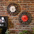 Vintage loft round clock clock personality room hall clock American clothing shop wall clock