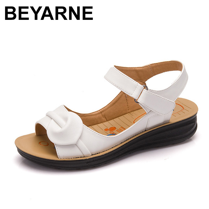BEYARNE 2018 Summer Women Sandals,Shoes Woman Vintage Ladies Flat Gladiator Sandals Shoes Platforms zapatos mujer