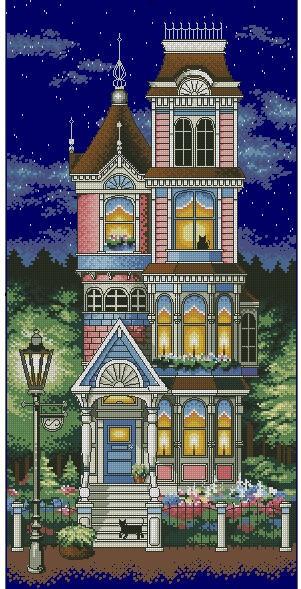 Cross Stitch Kit Victorian Charm House Starry Night Star DIM 13666
