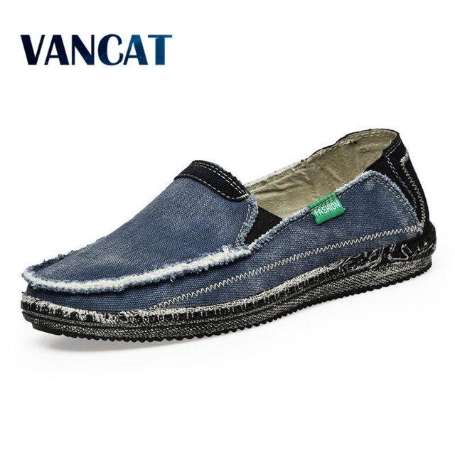 Chegada nova preço Baixo Dos Homens Respirável de Alta Qualidade Casual Shoes Jeans Canvas Slip On Shoes men Moda Flats Loafer Casuais