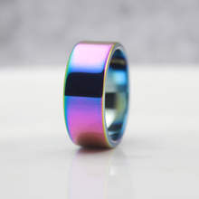 Fashion Jewelry Grade AAA Quality Rainbow Color 10mm Width Flat Shape Hematite Rings (1 Piece) HR1006