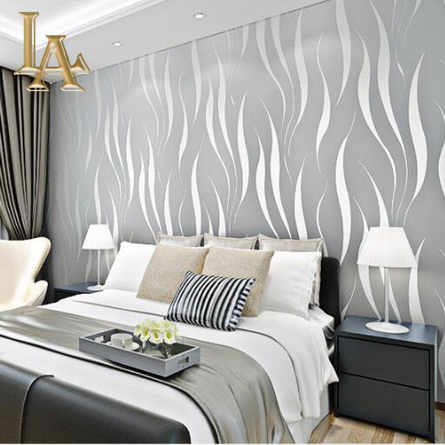 Mode Geprägte Beflockung Striped 3D Wallpaper Für Wände Vlies Lila Beige  Home Hintergrund Wandpapierrolle W341