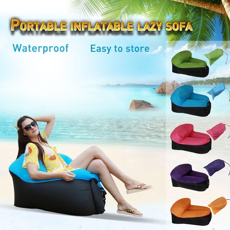 Inflatable lazy sun lounger portable sunbathing air chair single air sun sofa bag indoor leisure chair outdoor sun lounger