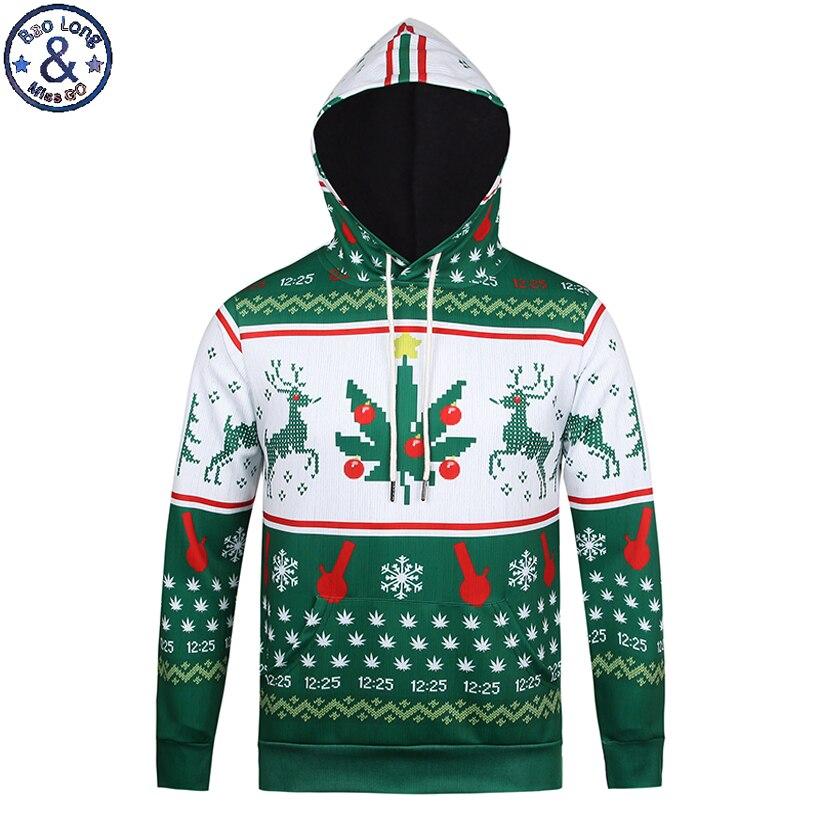 Mr.BaoLong Brand fashion youth hooded hoodies men Christmas reindeer snowflakes 3D printed pullover sweatshirt H82