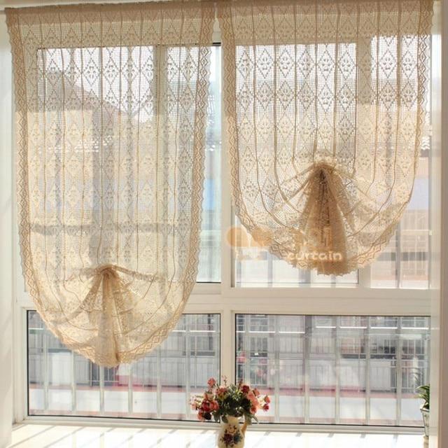 American Countryside Style Beige Handmade Crochet Cotton Curtain Hollow Lace  Splice Translucidus Roman Curtain Balloon Curtain