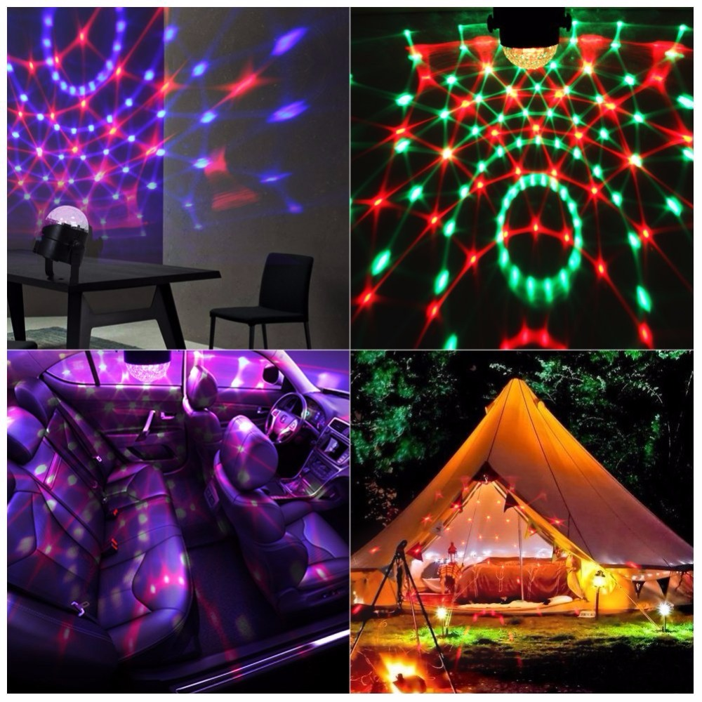 3W Mini RGB Crystal Magic Sound Activated Disco Ball Stage Lamp Lumiere Christmas Laser Projector Dj Club Party Light Show #25