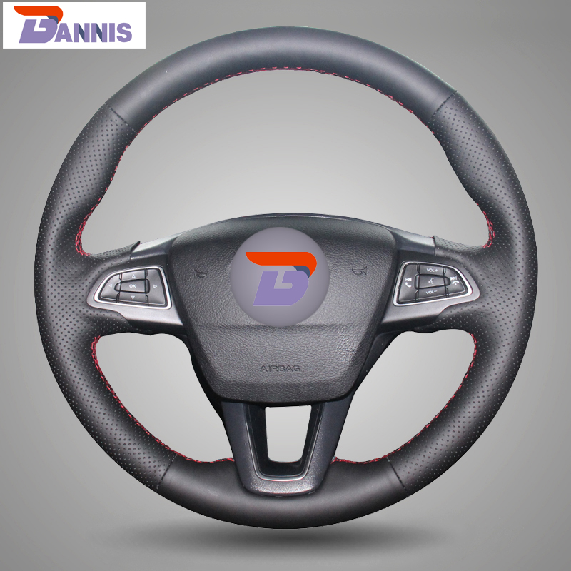 BANNIS Black Artificial Leather DIY Hand stitched Steering Wheel Cover for Ford Focus 3 2015