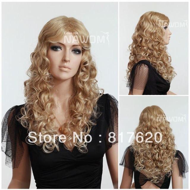 Free Shipping Women Long Blonde Curly Wigs Fashion Wavy Female Wig  Sensational Hair Wigs Buy Wigs Online ab7cee0adaa0