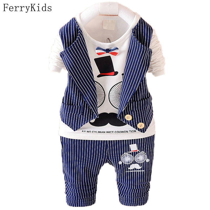 2017 New Spring Baby Boys Clothing Sets Kids Clothes Sets Toddler Boys Clothing Baby Boy Clothes Gentleman Suit Striped 2017 new boys clothing set camouflage 3 9t boy sports suits kids clothes suit cotton boys tracksuit teenage costume long sleeve