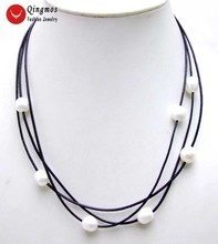 Qingmos 10-11mm Natural White Pearl Necklace for Women with 10-11mm Rice Pearl Pendant Leather 3 Strands 19-21 Chokers Necklace miss charm jew 574 genuine 10 11mm akoya white pearl necklace