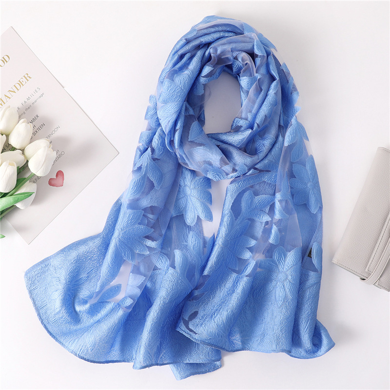 2019 summer silk   scarf   for women organza Hollowed flowers shawls and   wraps   lady pashmina bandana female foulard beach stoles