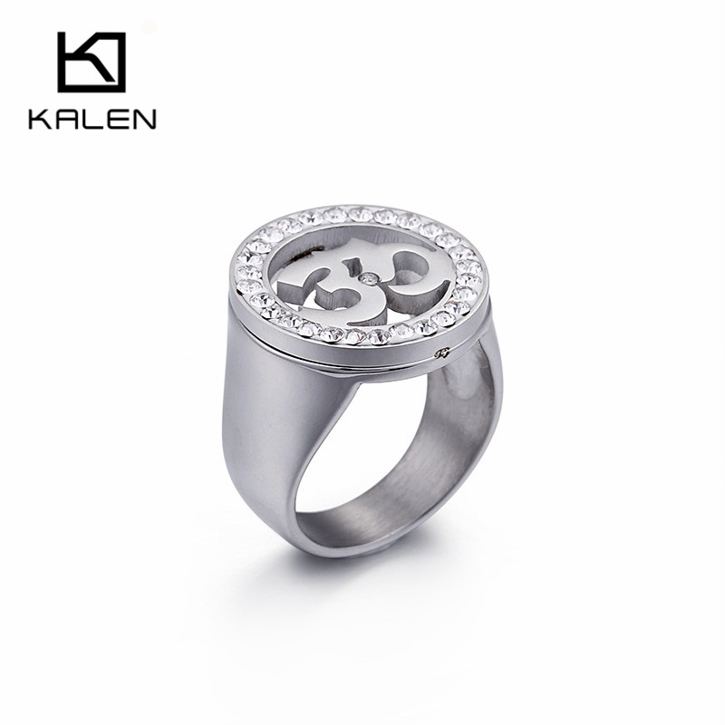 Kalen Fashion Stainless Steel Silver Color Yoga India Rings Muslims Allah OHM Hindu Buddhist AUM OM Religious Symbols Jewelry