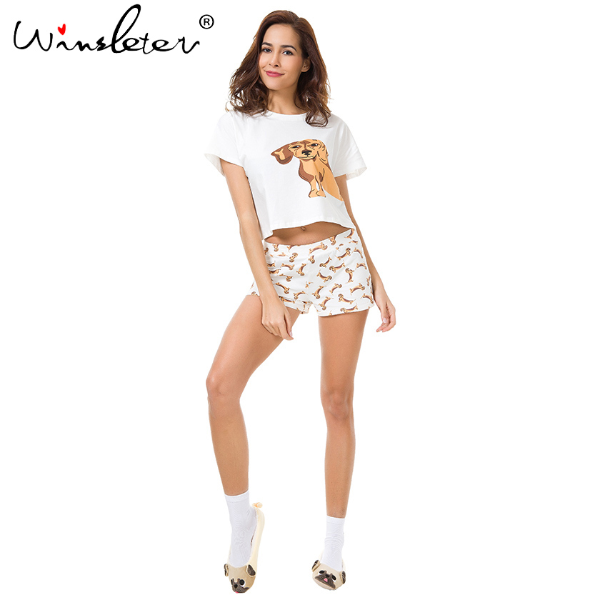 Best Seller Cute Women's Pajama Sets Dachshund Print 2 Pieces Set Dog Crop Top + Shorts Elastic Waist Loose Plus Size S6706 1