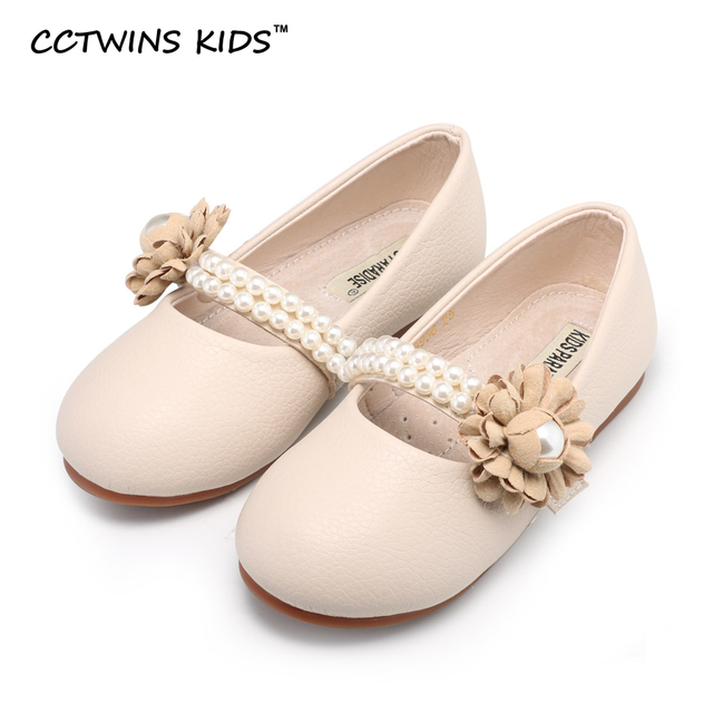 CCTWINS KIDS spring autumn baby fashion princess pearl shoe children flat pu leather girl brand party flower toddler pink ankle