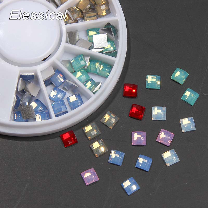 Elessical Colorful New Arrival 3D Square Opal Glitters Rhinestones DIY Nail Art Tips Decoration Nails Accessories In Wheel WY158 50 pcs set 3d nail art decorations glitters diy nail tools full rhinestones silver crown crystal nails studs1
