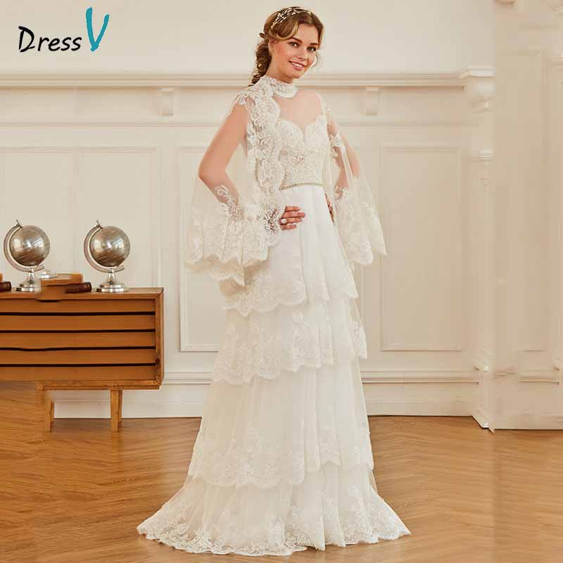 Dressv ivory elegant high neck long sleeves wedding dress appliques button floor length bridal outdoor&church wedding dresses