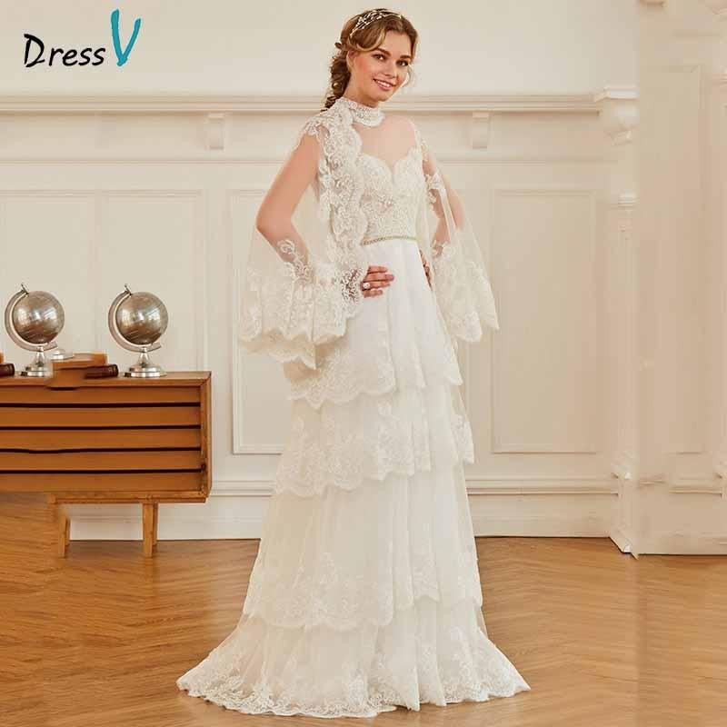 Dressv ivory elegant high neck long sleeves wedding dress appliques button floor length bridal outdoor&church wedding dresses