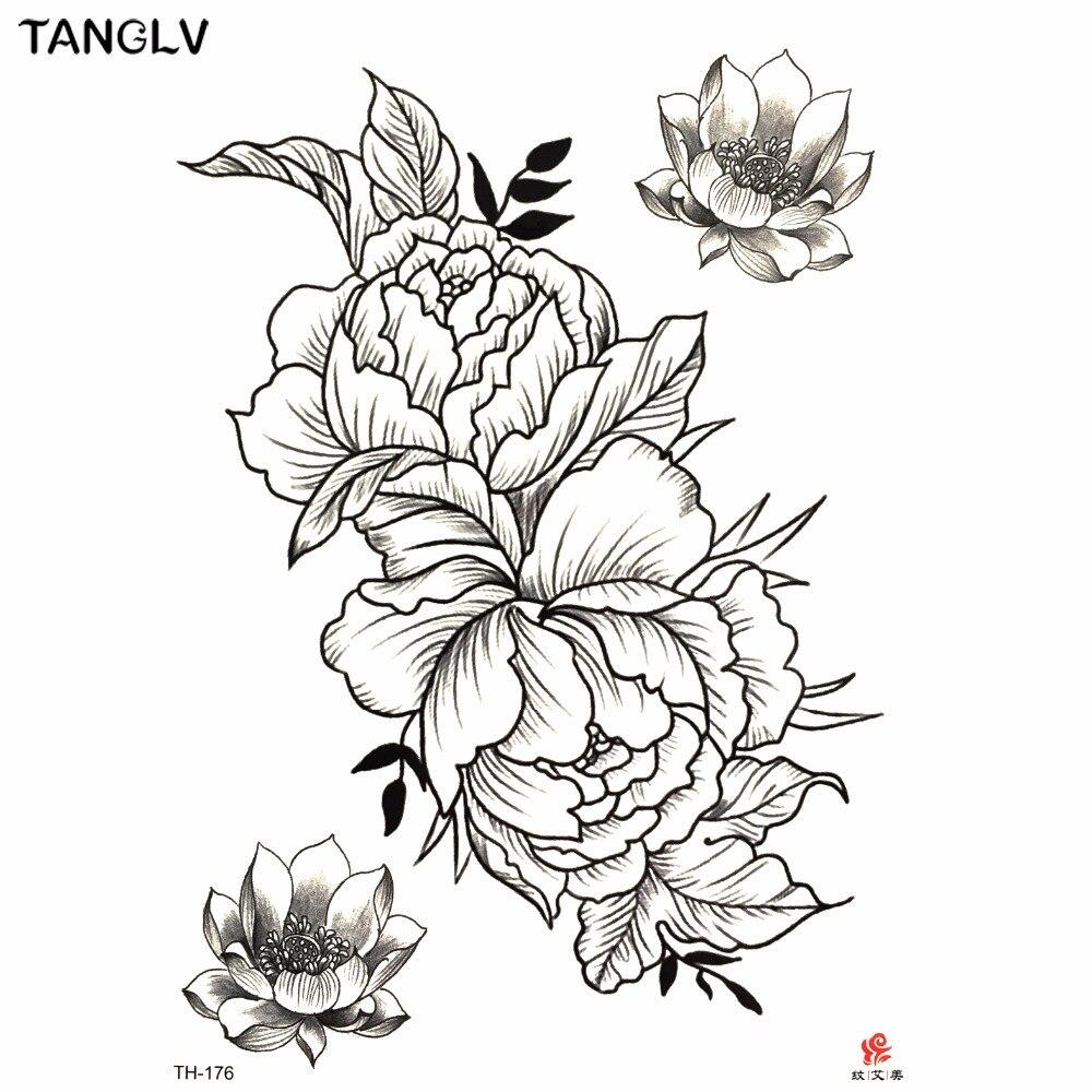 1 шт Временные татуировки наклейки черные розы дизайн полный цветок боди арт большие наклейки с поддельными татуировками