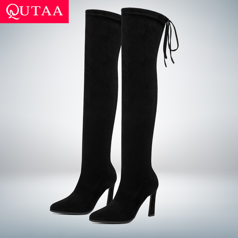 QUTAA 2020 New Lace Up Stretch Over The Knee Boots Women Shoes Sexy Pointed Toe High Heels Winter Long Woman Boots Size 34-43QUTAA 2020 New Lace Up Stretch Over The Knee Boots Women Shoes Sexy Pointed Toe High Heels Winter Long Woman Boots Size 34-43