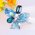 B650268 New luxurious colors blue crystal feather shape brooch Zinc Alloy silver plated with Austria crystal women jewellry