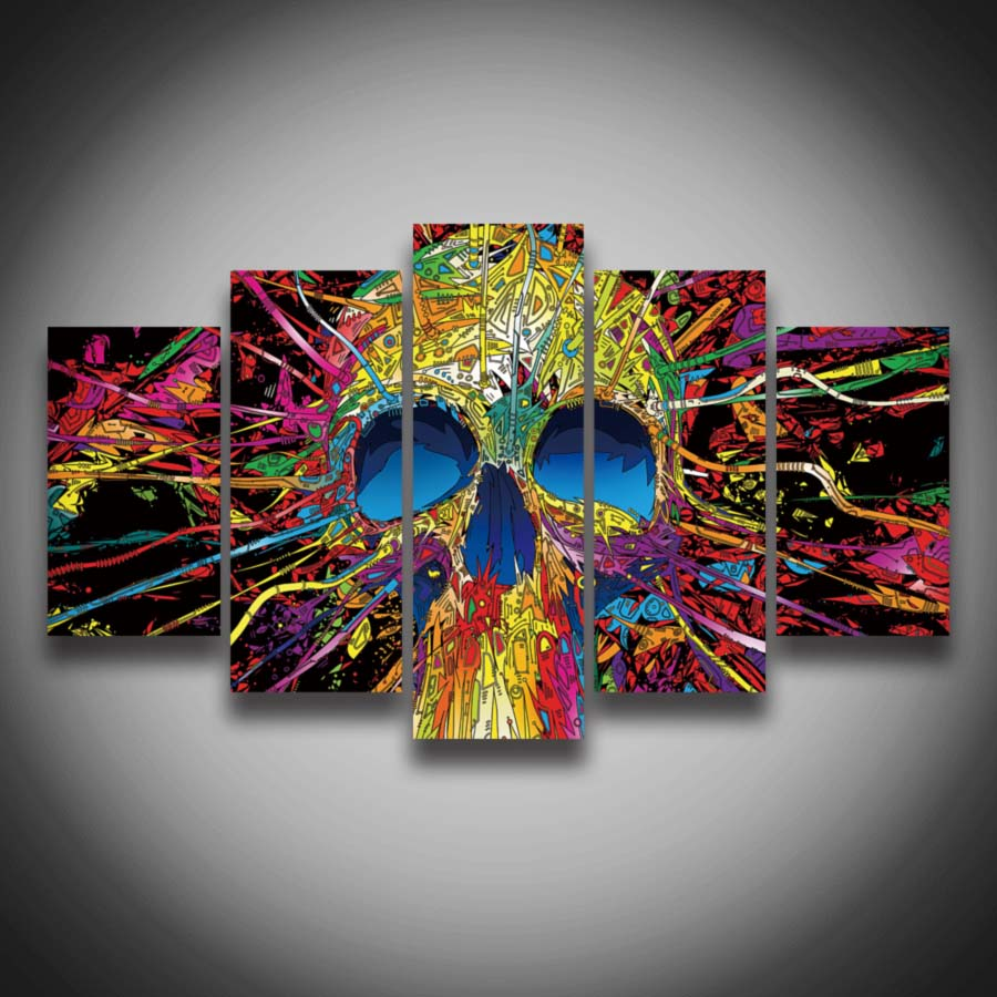 Abstract Paintings of Skulls Design