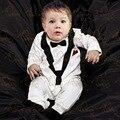 2016 Весна модели джентльмен костюм младенца мальчик белая блузка комплект одежды немного bebe roupas meninos