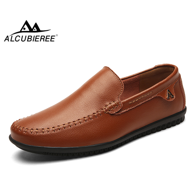 ALCUBIEREE Summer Flexible Driving Shoes Mens Breathable Slip-on Flats Loafers Handmade Leather Moccasins Boat Shoes Big Size 47