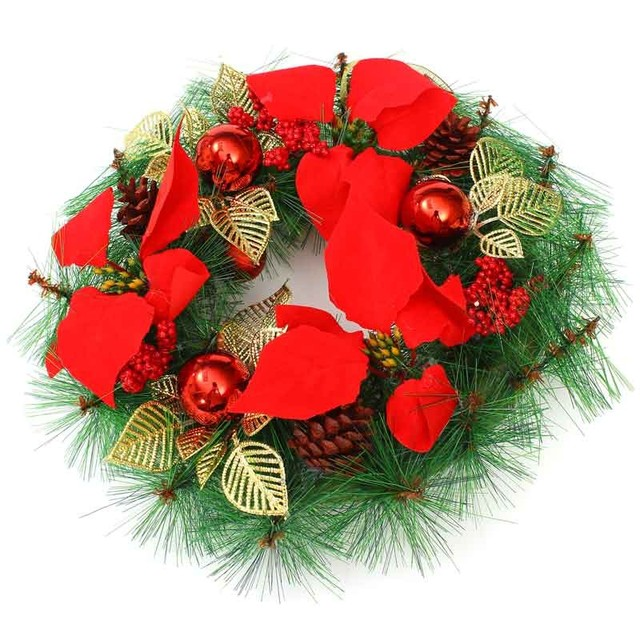 3 Size Christmas Wreath Paragraph Handmade Rattan Ring Red Ball Door Hanging Wedding Party Decorations