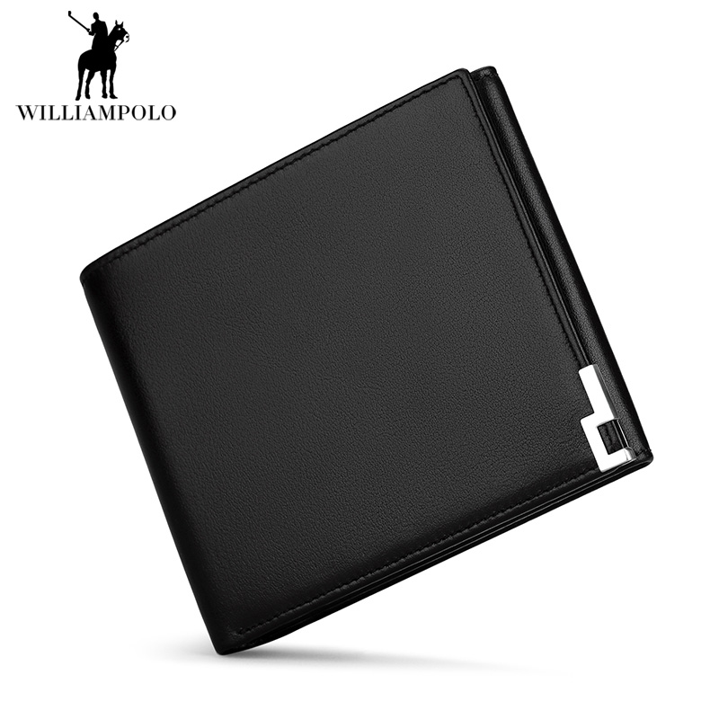 WILLIAMPOLO 2018 Black Mens Coin Genuine Leather Wallet Bifold Men Zipper Purses Multi-Purpose Pocket Purse Short Wallet POLO222 anime cartoon wallets bifold game pokemon go pikachu wallet for teenager women men pocket monster purse coin purses holders