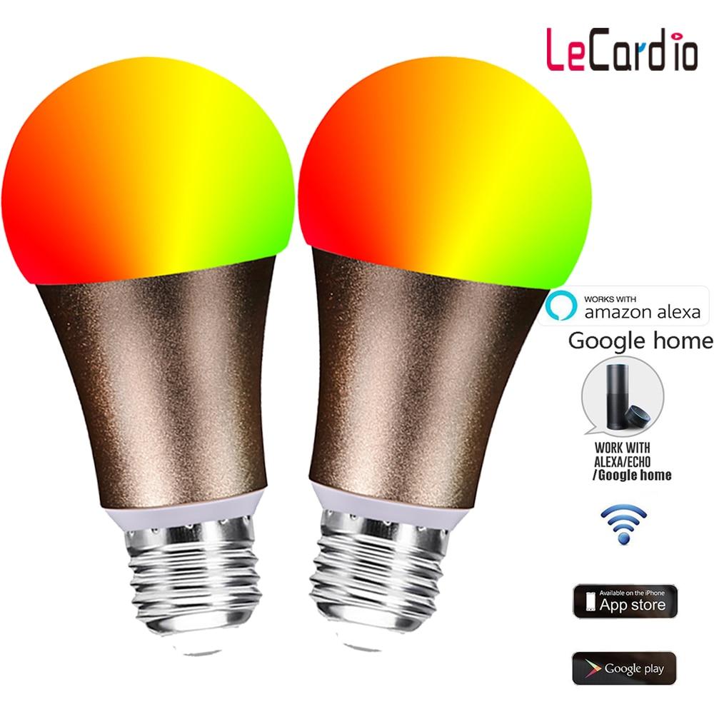 LED intelligent de l'ampoule RGBW de WiFi de lampe à LED d'or, lumières de réveil Dimmable compatibles avec l'application 2 PC de téléphone de nid d'assistant à la maison d'alexa et de Google