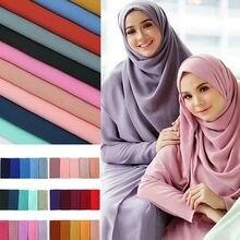 Populaire Maleisië Stijl Moslim Hijaabs Sjaals/sjaal Vrouwen Vlakte Bubble Chiffon Sjaal Hijab Wrap Solid Sjaals Hoofdband Underscarf
