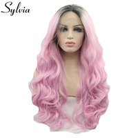 Sylvia Pink Ombre Body Wave Curly Wave Hairstyle Synthetic Lace Front Wigs With Dark Roots Black