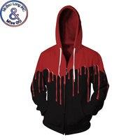 Halloween Blood Print Fleece Hoodie Sweatshirt Men Women Funny 3D Zipper Hoodies Sweatshirts Men Hiphop Hoodie Tracksuit Moletom